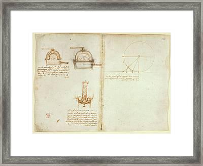 Drawings By Leonardo Da Vinci Framed Print by British Library