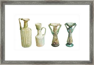 4th Century Glass Juglets And Bottles Framed Print by Photostock-israel
