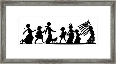 4th Of July Childrens Parade Panorama Framed Print