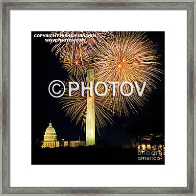 4th Of July Fireworks Over Washington Dc Framed Print by Hisham Ibrahim