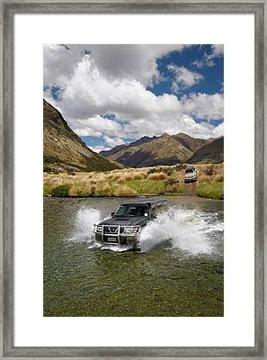 4wd Crossing The Mararoa River Framed Print