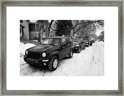 4x4s Trucks And Suvs Parked Onstreet During Winter Caswell Hill Saskatoon Saskatchewan Canada Framed Print by Joe Fox