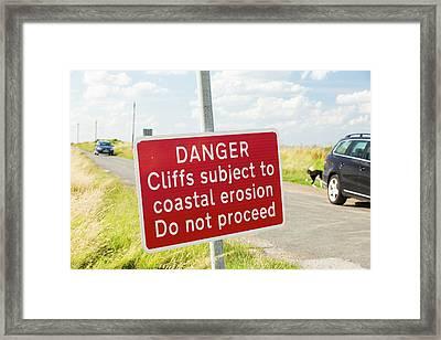 A Collapsed Coastal Road Near Aldbrough Framed Print