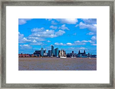 A Digitally Constructed Painting Of A Tall Ships On The River Mersey Liverpool Uk Framed Print
