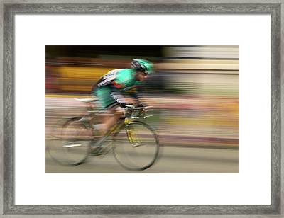 Amateur Men Bicyclists Competing Framed Print