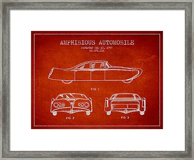 Amphibious Automobile Patent From 1957 Framed Print by Aged Pixel