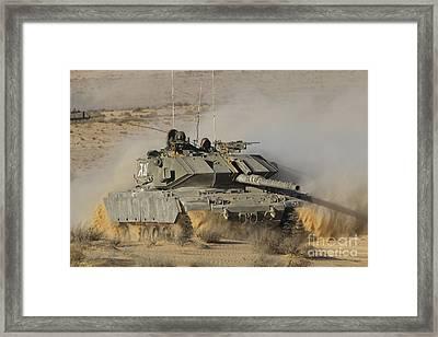 An Israel Defense Force Magach 7 Main Framed Print by Ofer Zidon