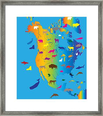 Animal Map Of North America Framed Print