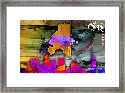 Atlanta Map And Skyline Watercolor Framed Print