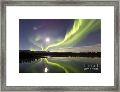 Aurora Borealis And Full Moon Framed Print by Joseph Bradley