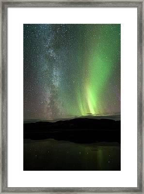 Aurora Borealis And Milky Way Framed Print