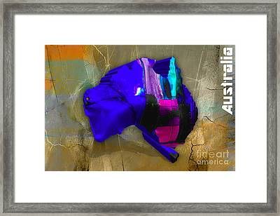 Australia Country Map Watercolor Framed Print
