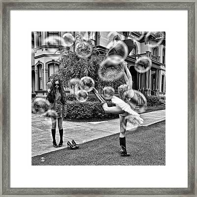 Ballerina With Mysterious Girl Framed Print