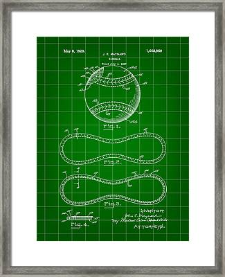 Baseball Patent 1927 - Green Framed Print by Stephen Younts