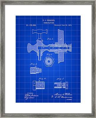 Beer Tap Patent 1876 - Blue Framed Print