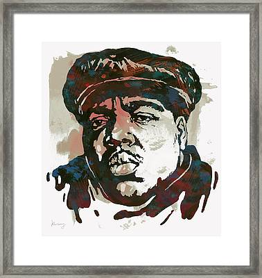 Biggie Smalls Modern Art Drawing Poster Framed Print by Kim Wang