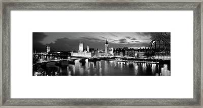 Buildings Lit Up At Dusk, Big Ben Framed Print by Panoramic Images