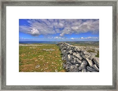 Burren Stone Wall Framed Print by John Quinn