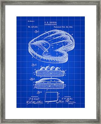 Catcher's Glove Patent 1891 - Blue Framed Print by Stephen Younts
