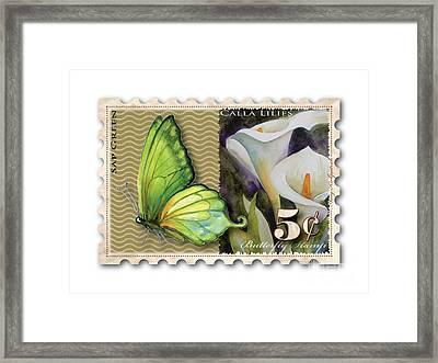 5 Cent Butterfly Stamp Framed Print by Amy Kirkpatrick