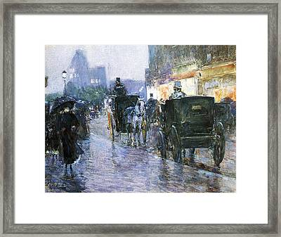 Horse Drawn Cabs At Evening Framed Print by Childe Hassam
