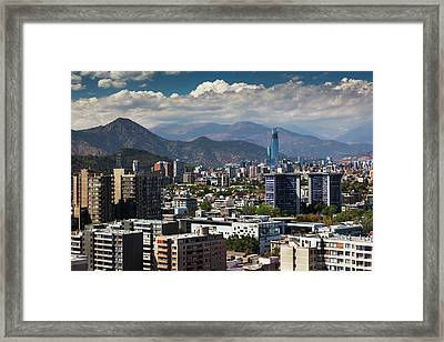 Chile, Santiago, City View Framed Print by Walter Bibikow