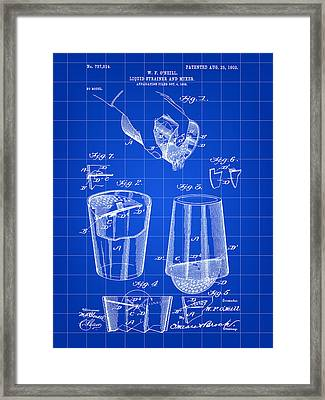Cocktail Mixer And Strainer Patent 1902 - Blue Framed Print by Stephen Younts