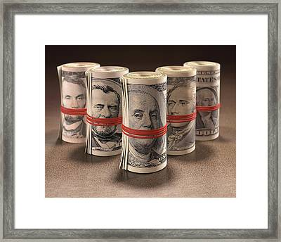 Dollar Bills Rolled Up Framed Print by Ktsdesign