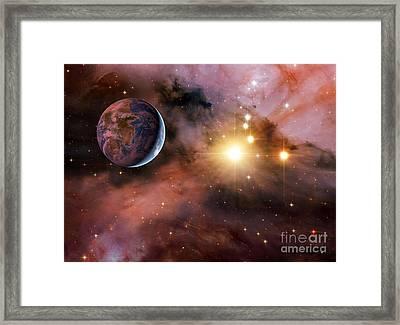 Earthlike Alien Planet, Artwork Framed Print