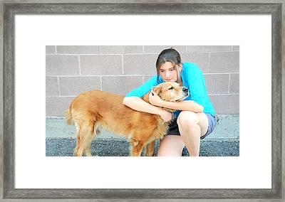 Female And Dog. Framed Print by Oscar Williams