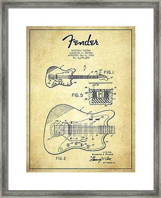 Fender Electric Guitar Patent Drawing From 1966 Framed Print