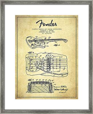 Fender Floating Tremolo Patent Drawing From 1961 - Vintage Framed Print
