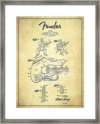 Fender Guitar Patent Drawing From 1960 Framed Print