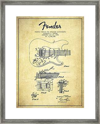 Fender Tremolo Device Patent Drawing From 1956 Framed Print by Aged Pixel
