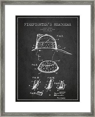Firefighter Headgear Patent Drawing From 1926 Framed Print