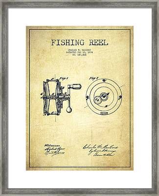 Fishing Reel Patent From 1874 Framed Print