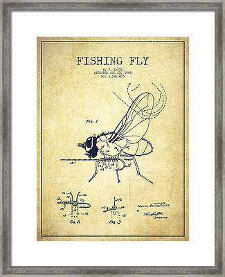 Fishing Fly Patent Drawing From 1968 - Vintage Framed Print by Aged Pixel