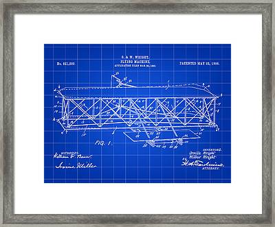Flying Machine Patent 1903 - Blue Framed Print