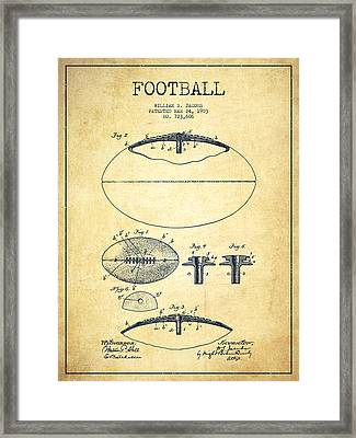 Football Patent Drawing From 1903 Framed Print by Aged Pixel