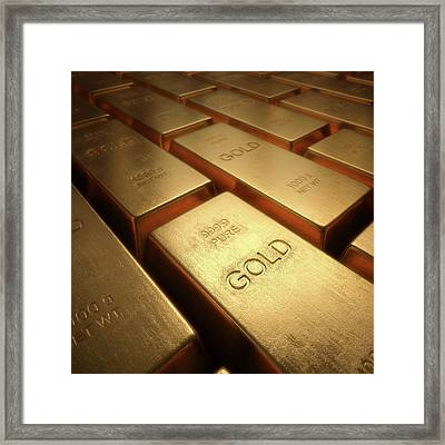 Gold Bullion Framed Print by Ktsdesign