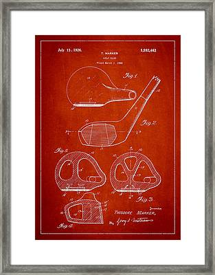 Golf Club Patent Drawing From 1926 Framed Print