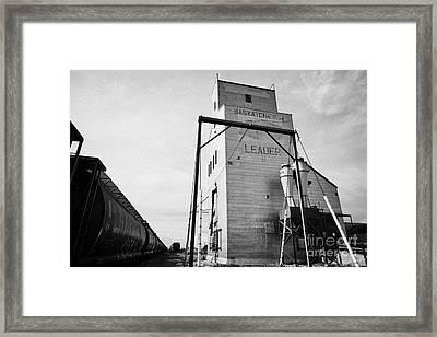 grain elevator and old train track landmark leader Saskatchewan Canada Framed Print by Joe Fox