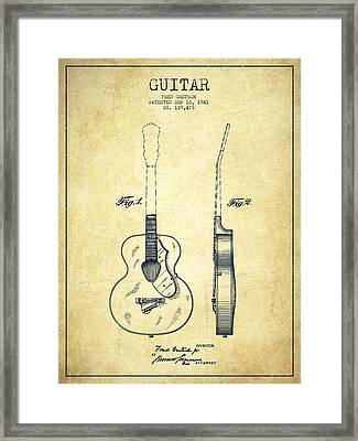 Gretsch Guitar Patent Drawing From 1941 - Vintage Framed Print by Aged Pixel