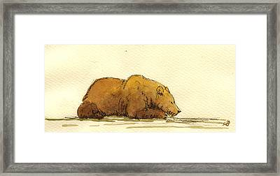 Grizzly Bear Framed Print by Juan  Bosco