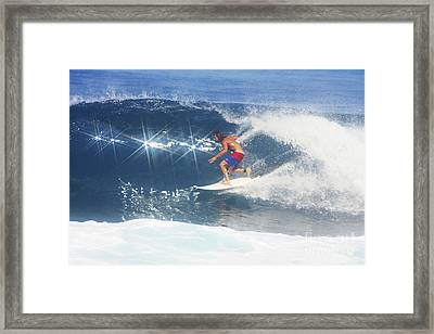 Hawaii, Oahu, North Shore, Pipeline, Surfer, Riding A Wave. Framed Print by Vince Cavataio