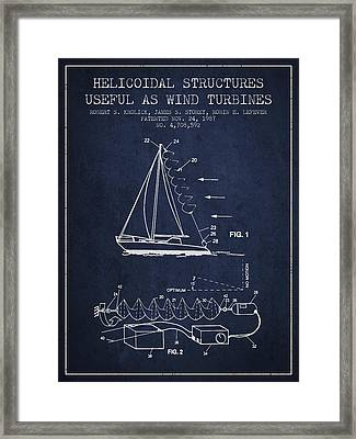 Helicoidal Structures Useful As Wind Turbines Patent From 1987 - Framed Print