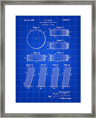 Hockey Puck Patent 1940 - Blue Framed Print by Stephen Younts