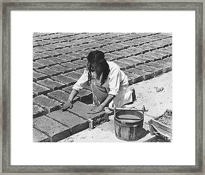 Indians Making Adobe Bricks Framed Print by Underwood Archives Onia