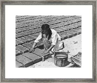 Indians Making Adobe Bricks Framed Print