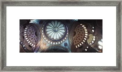 Interiors Of A Mosque, Blue Mosque Framed Print